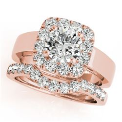 1.80 CTW Certified VS/SI Diamond 2Pc Wedding Set Solitaire Halo 14K Rose Gold - REF-265R3K - 31227