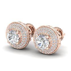 2.35 CTW VS/SI Diamond Solitaire Art Deco Stud Earrings 18K Rose Gold - REF-400N2A - 37257
