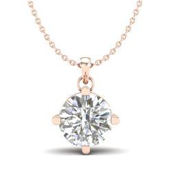 1 CTW VS/SI Diamond Solitaire Art Deco Stud Necklace 18K Rose Gold - REF-285M2F - 37233