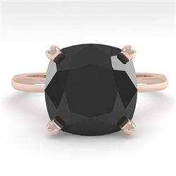 6.0 CTW Cushion Black Diamond Engagement Designer Ring Size 7 14K Rose Gold - REF-142W2H - 38487
