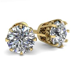 2.0 CTW VS/SI Diamond Stud Solitaire Earrings 18K Yellow Gold - REF-518K2W - 35686