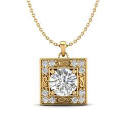 1.02 CTW VS/SI Diamond Solitaire Art Deco Necklace 18K Yellow Gold - REF-200V2Y - 37273