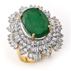 11.65 CTW Emerald & Diamond Ring 14K Yellow Gold - REF-370Y4X - 12999