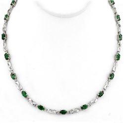 7.02 CTW Emerald & Diamond Necklace 10K White Gold - REF-78A2V - 11324