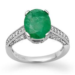 3.20 CTW Emerald & Diamond Ring 14K White Gold - REF-70V9Y - 11871