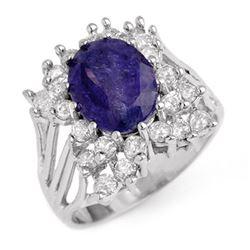 4.44 CTW Tanzanite & Diamond Ring 14K White Gold - REF-183R8K - 14093