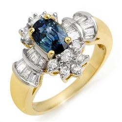 2.25 CTW Blue Sapphire & Diamond Ring 14K Yellow Gold - REF-71V5Y - 10574