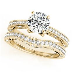 1.02 CTW Certified VS/SI Diamond Solitaire 2Pc Wedding Set Antique 14K Yellow Gold - REF-150H5M - 31