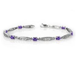 1.82 CTW Tanzanite & Diamond Bracelet 10K White Gold - REF-39A8V - 13770