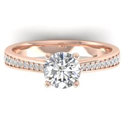 1.26 CTW Certified VS/SI Diamond Solitaire Art Deco Ring 14K Rose Gold - REF-352N4A - 30385