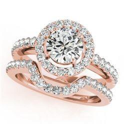 0.96 CTW Certified VS/SI Diamond 2Pc Wedding Set Solitaire Halo 14K Rose Gold - REF-138X7R - 30775