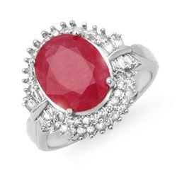 6.07 CTW Ruby & Diamond Ring 18K White Gold - REF-158M2F - 13639