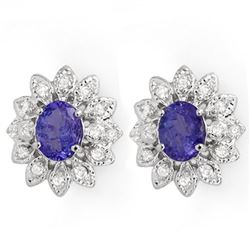 3.70 CTW Tanzanite & Diamond Earrings 14K White Gold - REF-108N7A - 14043
