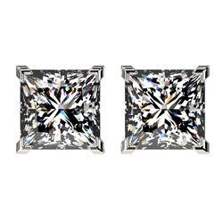 2.50 CTW Certified VS/SI Quality Princess Diamond Stud Earrings 10K White Gold - REF-840R2K - 33114