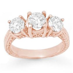 2.0 CTW Certified VS/SI Diamond 3 Stone Ring 14K Rose Gold - REF-323Y3X - 13394