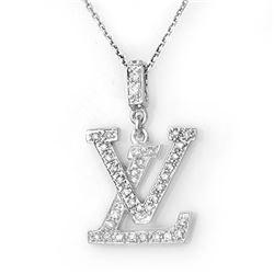 0.33 CTW Certified VS/SI Diamond Necklace 14K White Gold - REF-42F2N - 10740