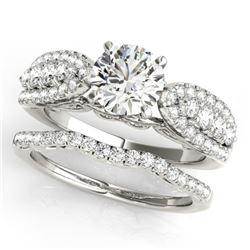 1.71 CTW Certified VS/SI Diamond Solitaire 2Pc Wedding Set 14K White Gold - REF-248V2Y - 31901
