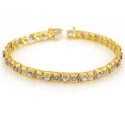 3.14 CTW Tanzanite & Diamond Bracelet 10K Yellow Gold - REF-109R3K - 10398