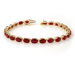 16.0 CTW Ruby Bracelet 10K Yellow Gold - REF-80F2N - 13449