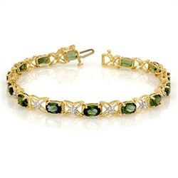 8.15 CTW Green Tourmaline & Diamond Bracelet 14K Yellow Gold - REF-109M3F - 11262