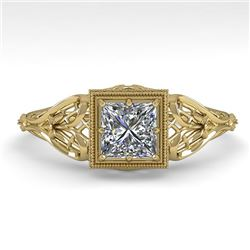 0.50 CTW VS/SI Princess Diamond Solitaire Engagement Ring Deco 18K Yellow Gold - REF-113N8A - 36025
