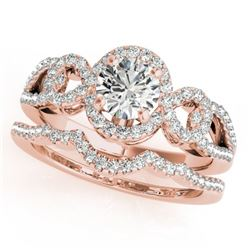 1.55 CTW Certified VS/SI Diamond 2Pc Wedding Set Solitaire Halo 14K Rose Gold - REF-389N3A - 31083