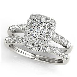 1.74 CTW Certified VS/SI Cushion Diamond 2Pc Set Solitaire Halo 14K White Gold - REF-464N4A - 31337
