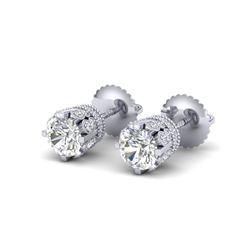 1.75 CTW VS/SI Diamond Solitaire Art Deco Stud Earrings 18K White Gold - REF-249A3V - 36833