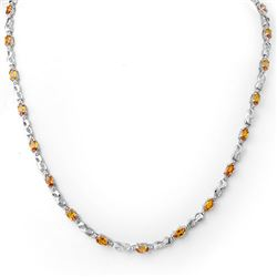 9.02 CTW Orange Sapphire & Diamond Necklace 18K White Gold - REF-163M6F - 11646