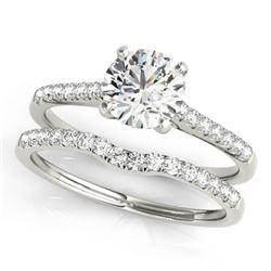 0.85 CTW Certified VS/SI Diamond Solitaire 2Pc Wedding Set 14K White Gold - REF-126V2Y - 31736