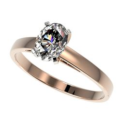 1 CTW Certified VS/SI Quality Oval Diamond Solitaire Ring 10K Rose Gold - REF-297K2W - 32992