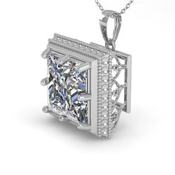1 CTW VS/SI Princess Diamond Solitaire Necklace 18K White Gold - REF-332K7W - 36003
