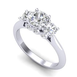 1.50 CTW VS/SI Diamond Solitaire Art Deco 3 Stone Ring 18K White Gold - REF-236F4N - 37313