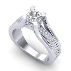1.70 CTW Cushion VS/SI Diamond Solitaire Micro Pave Ring 18K White Gold - REF-472W7H - 37163