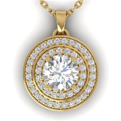 0.90 CTW Certified VS/SI Diamond Art Deco Halo Necklace 14K Yellow Gold - REF-116M4F - 30371