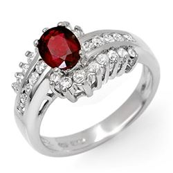 1.60 CTW Ruby & Diamond Ring 18K White Gold - REF-87X6R - 11893
