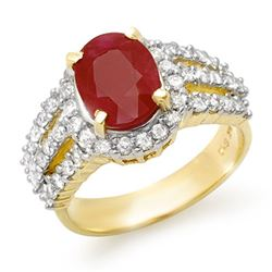 4.70 CTW Ruby & Diamond Ring 14K Yellow Gold - REF-140H9M - 13151