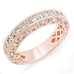 1.10 CTW Certified VS/SI Diamond Band 14K Rose Gold - REF-102W7H - 14312