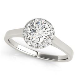 1.11 CTW Certified VS/SI Diamond Solitaire Halo Ring 18K White Gold - REF-319X2R - 26593