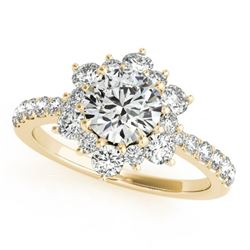 2 CTW Certified VS/SI Diamond Solitaire Halo Ring 18K Yellow Gold - REF-410N4A - 26505