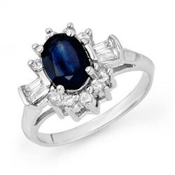 2.33 CTW Blue Sapphire & Diamond Ring 18K White Gold - REF-70M9F - 13159