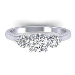 1.37 CTW Certified VS/SI Diamond Art Deco 3 Stone Ring 14K White Gold - REF-212H9M - 30483