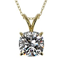 1 CTW Certified VS/SI Quality Cushion Cut Diamond Necklace 10K Yellow Gold - REF-267F7N - 33200