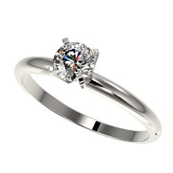 0.50 CTW Certified Quality Diamond Solitaire Engagement Ring 10K White Gold - REF-65A5V - 32855