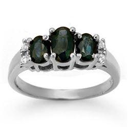 1.33 CTW Blue Sapphire & Diamond Ring 18K White Gold - REF-43W3H - 14005