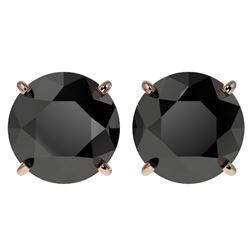 4 CTW Fancy Black VS Diamond Solitaire Stud Earrings 10K Rose Gold - REF-79H9M - 33135