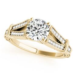 1 CTW Certified VS/SI Diamond Solitaire Antique Ring 18K Yellow Gold - REF-214V2Y - 27293