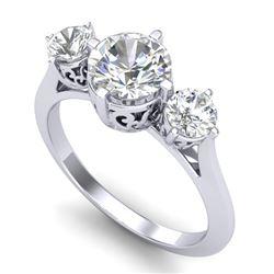 1.51 CTW VS/SI Diamond Solitaire Art Deco 3 Stone Ring 18K White Gold - REF-427R3K - 37235