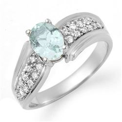 1.20 CTW Aquamarine & Diamond Ring 18K White Gold - REF-70R9K - 14523