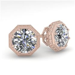 1.0 CTW VS/SI Diamond Stud Solitaire Earrings 18K Rose Gold - REF-147N3A - 35948